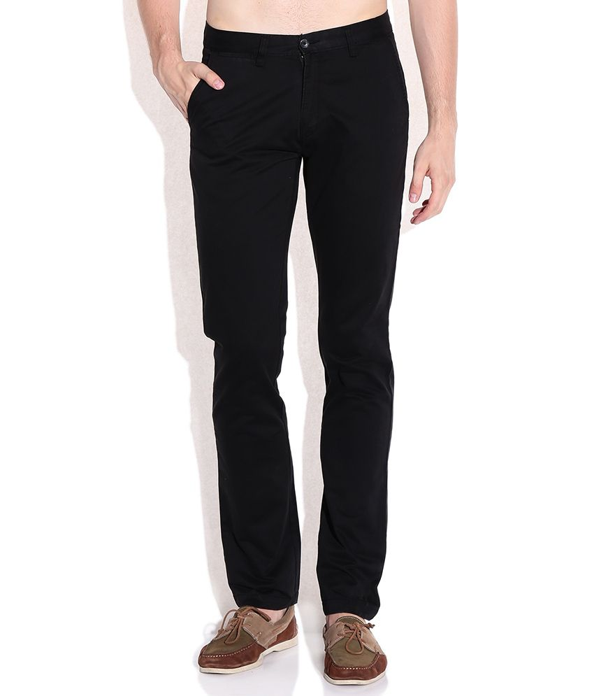 Arrow Sports Black Slim Fit Casual Trouser