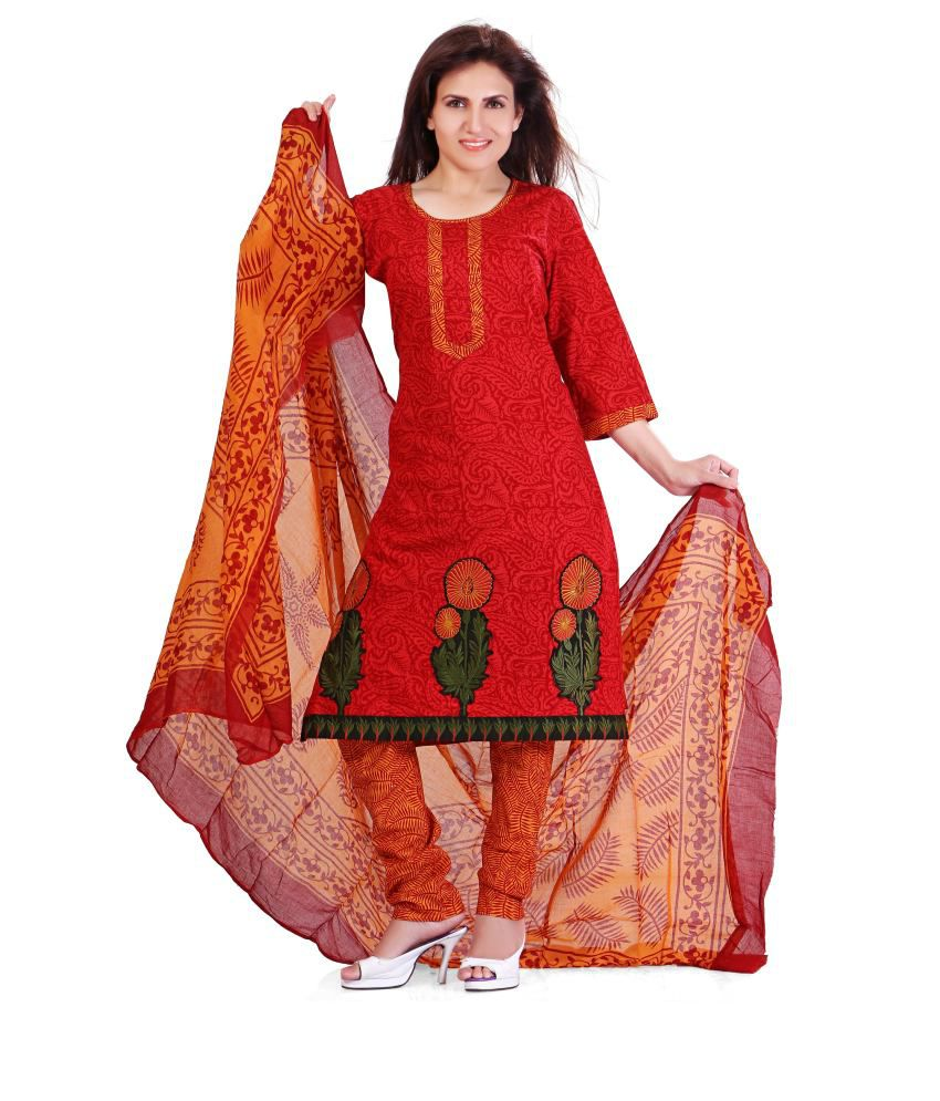 Colors Maroon Embroidered Blended Salwar Suit