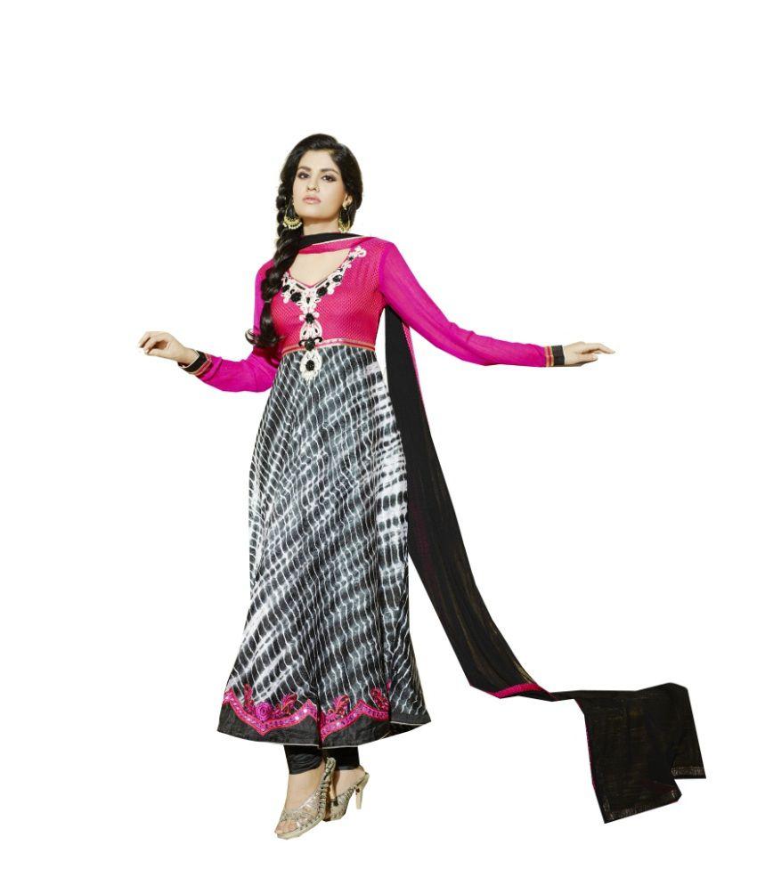 Fillbee Pink Pure Georgette Anarkali Dress Material