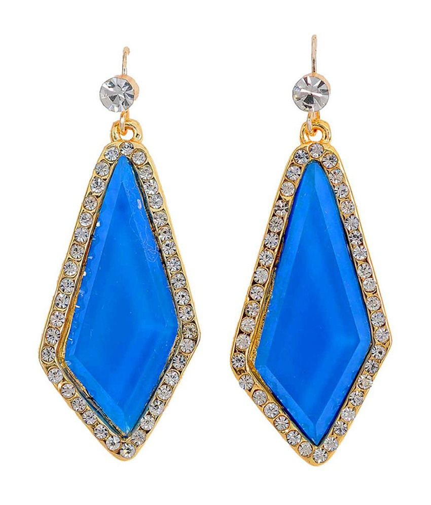 Maayra Unique Blue & Gold Designer Hanging Earrings