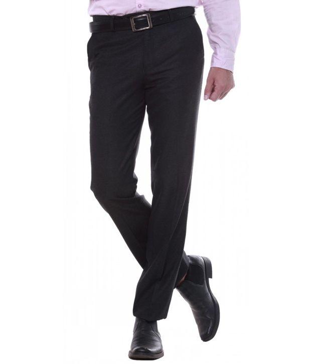 Sangam Apparels Gray Regular Fit Poly Viscose Formal Trouser