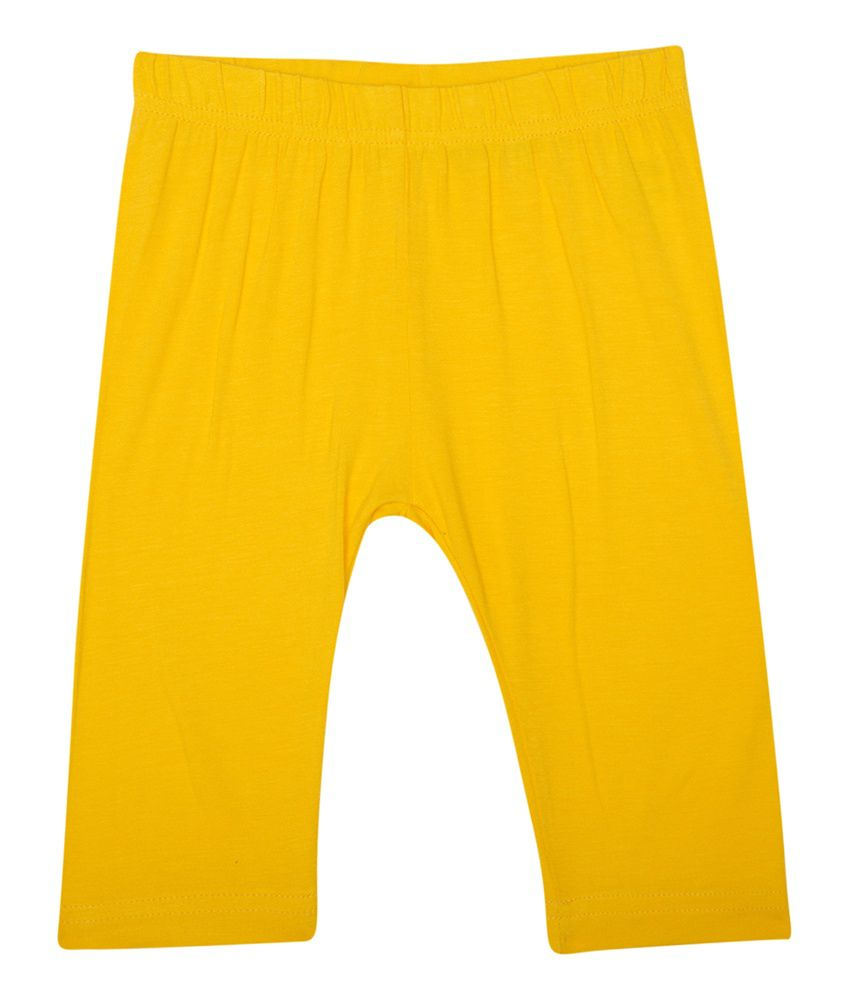 De Moza Yellow Cotton Lycra Legging For Girls