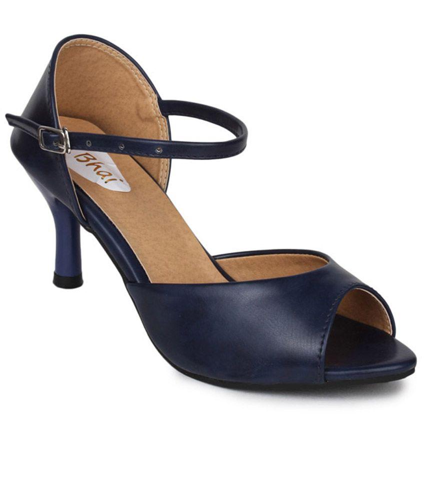Do Bhai Blue Faux Leather High Heel Sandals