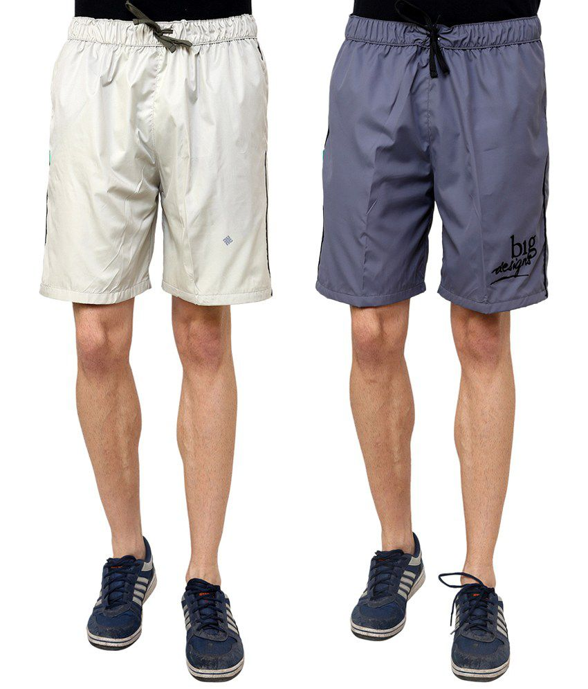 NU9 Stone & Grey Summer Shorts Combo