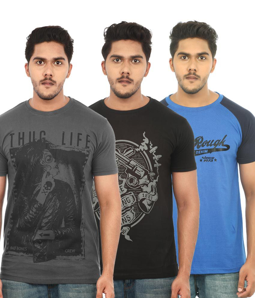 Uk Tribes Cotton Round Neck Printed Pack Of 3 T Shirts