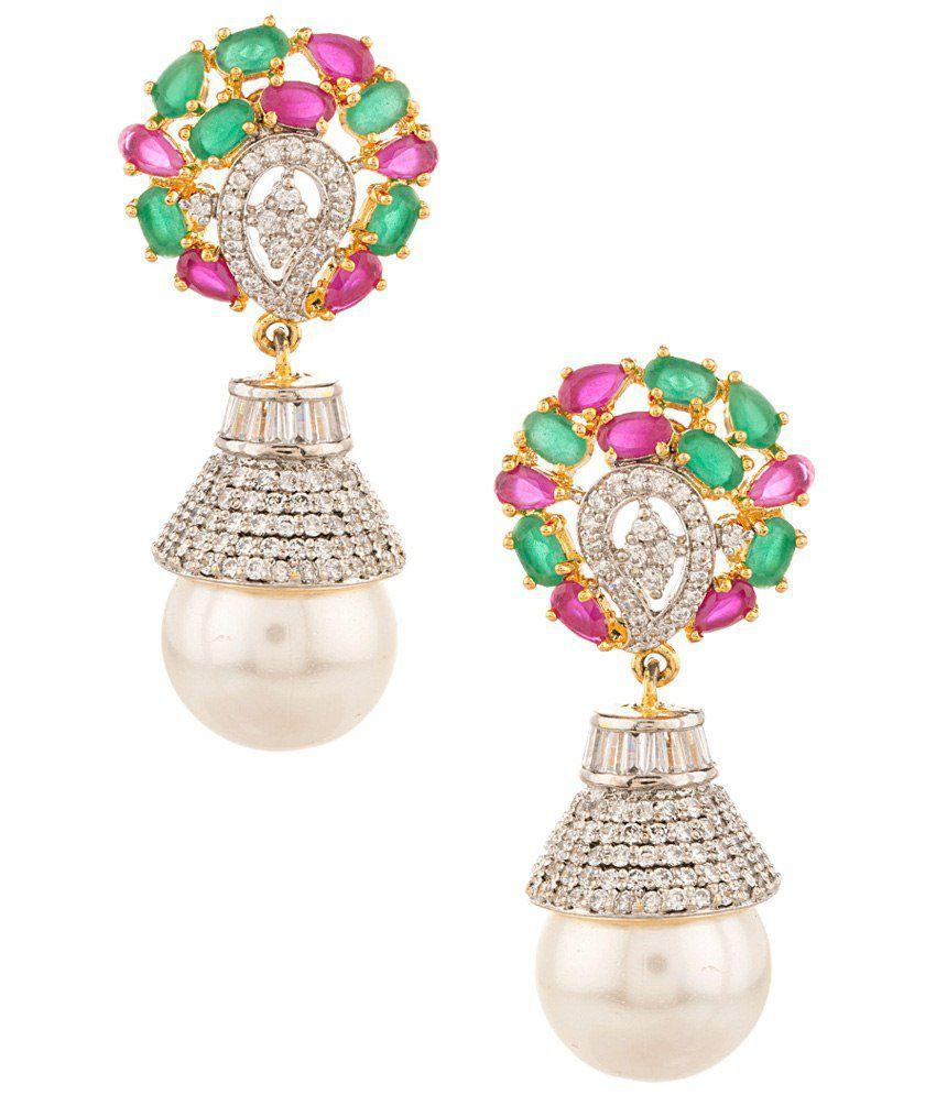 Voylla Green & Pink Hanging Earrings