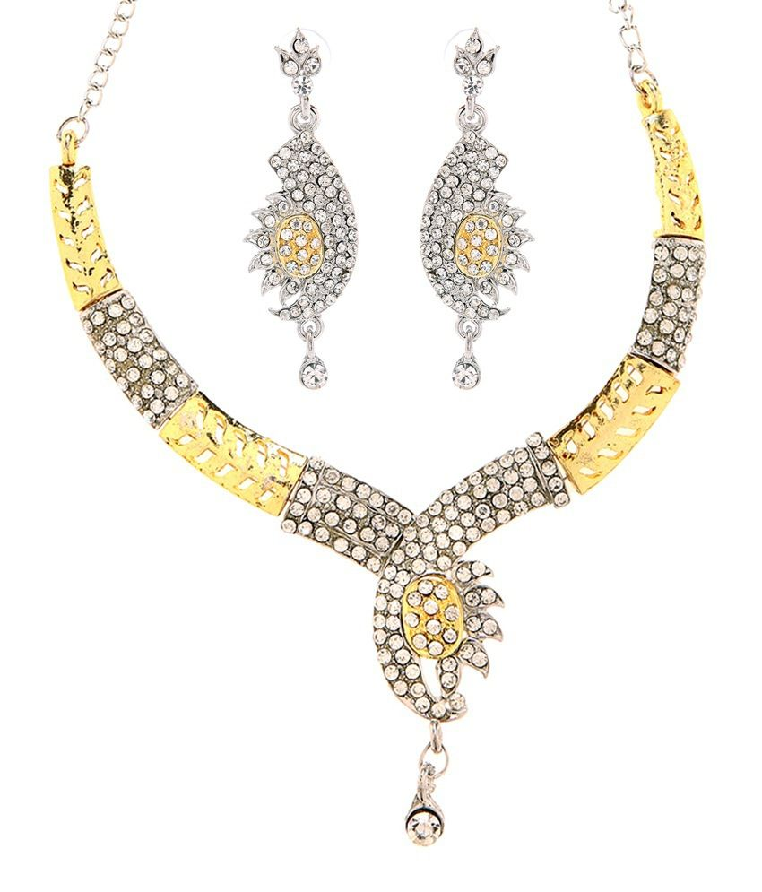Goldnera Designer Paisley Shaped American Diamond Necklace Set