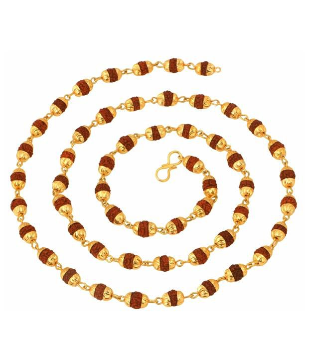 The Jewelbox Gold Plated Rudraksh Mala Chain -27.5 Inches