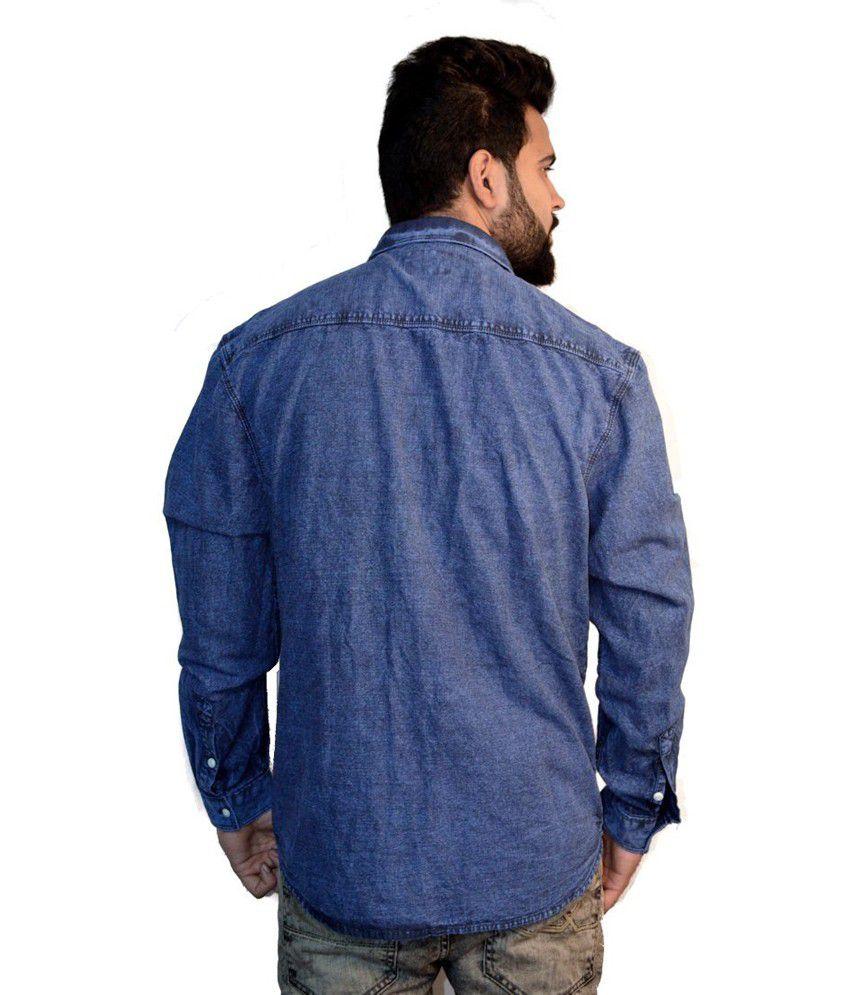 2b25fefc ... Cedar Wood State Blue Full Sleeves Regular Fit Partywear Denim Shirt