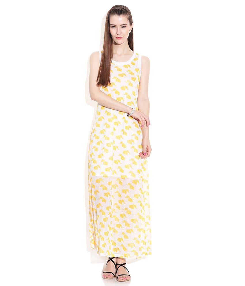 2df460a586d Global Desi Yellow Polyester Maxi Dress Global Desi Yellow Polyester Maxi  Dress ...