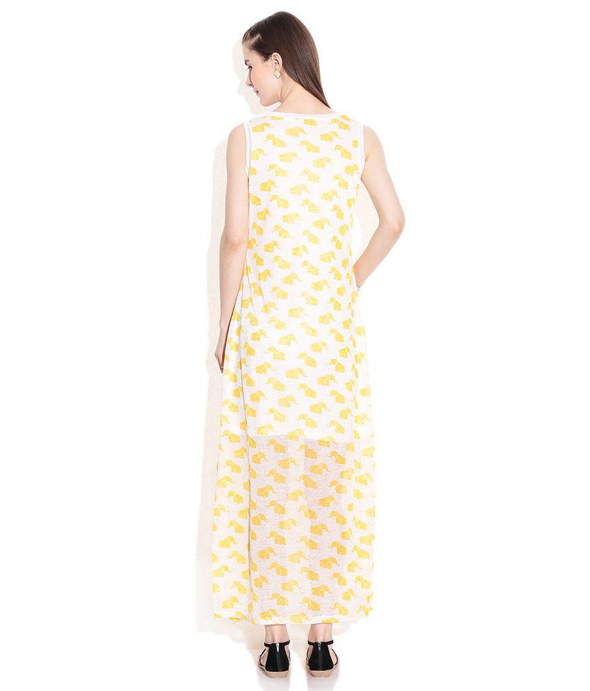 2aaf3bcd152 Global Desi Yellow Polyester Maxi Dress - Buy Global Desi Yellow ...