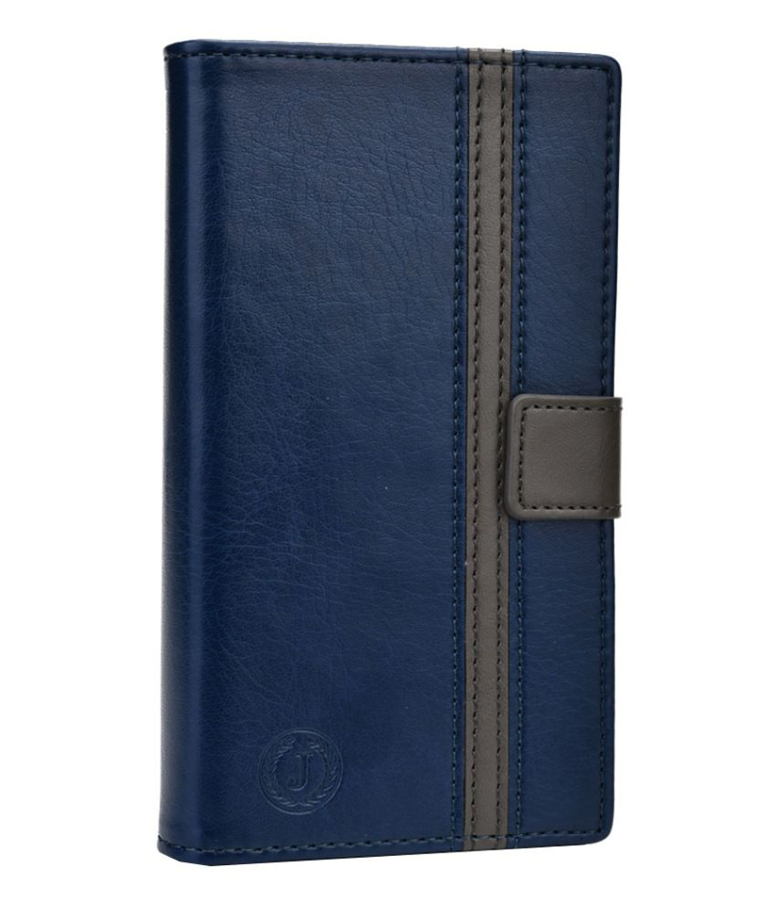 Jo Jo Pluto Series Leather Flip Cover for Spice Mi-356 Smart Flo Mettle 3.5X - Dark Blue and Grey