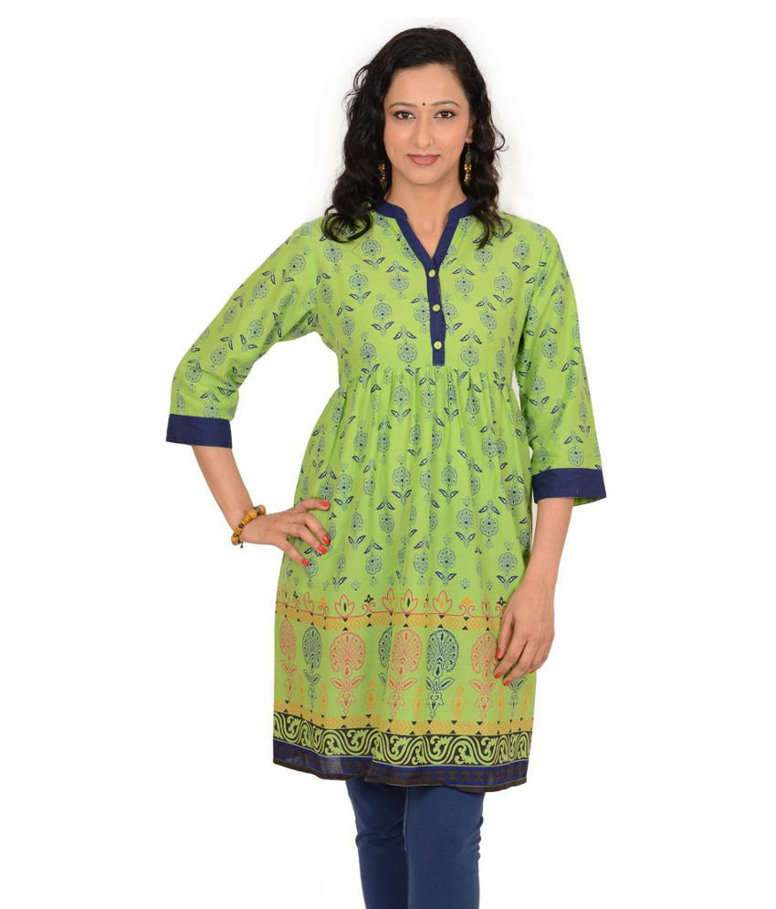 Kriti Ethnic Fashion Green Cotton 34th Sleeves Medium Chinese Collar Woven Kurti