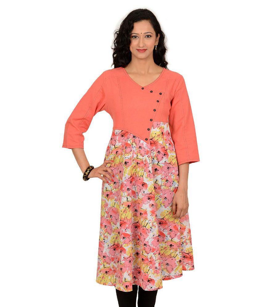 Kriti Ethnic Fashion Pink Cotton 34th Sleeves Long V-neck Woven Kurti
