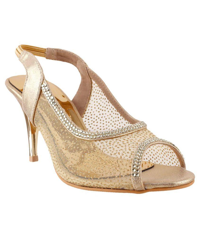 Metro Dazzling Golden Heeled Sandals