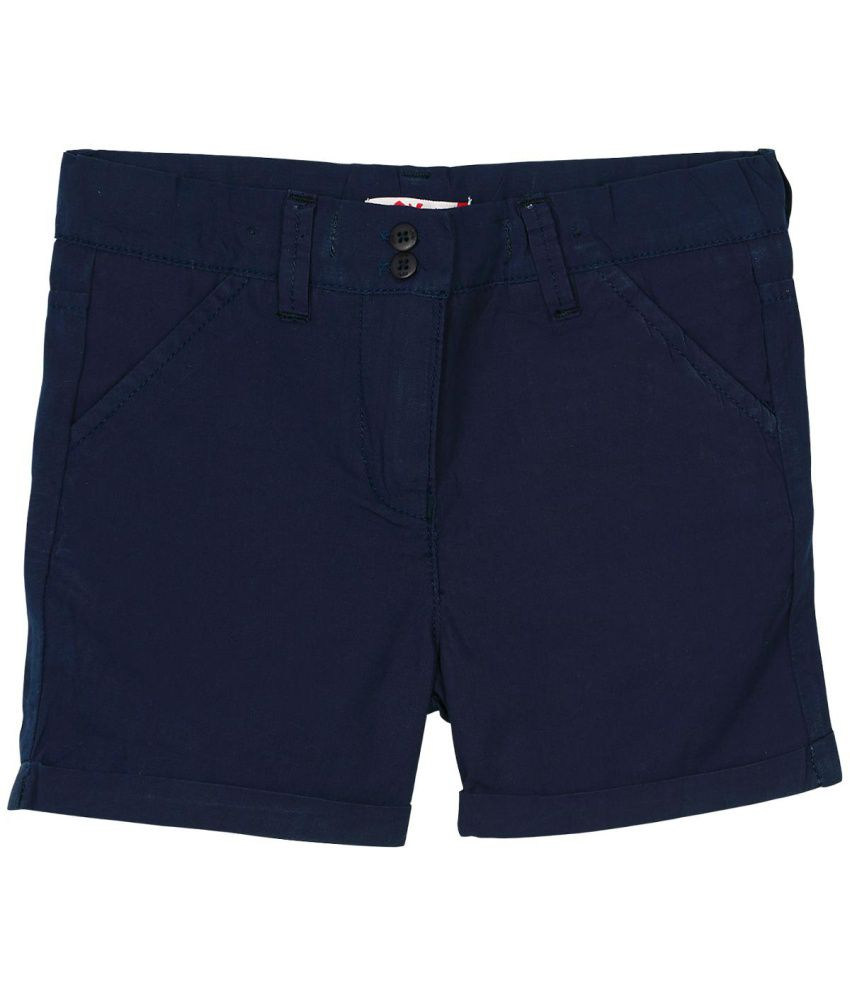 Oye Navy Cotton Fixed Shorts