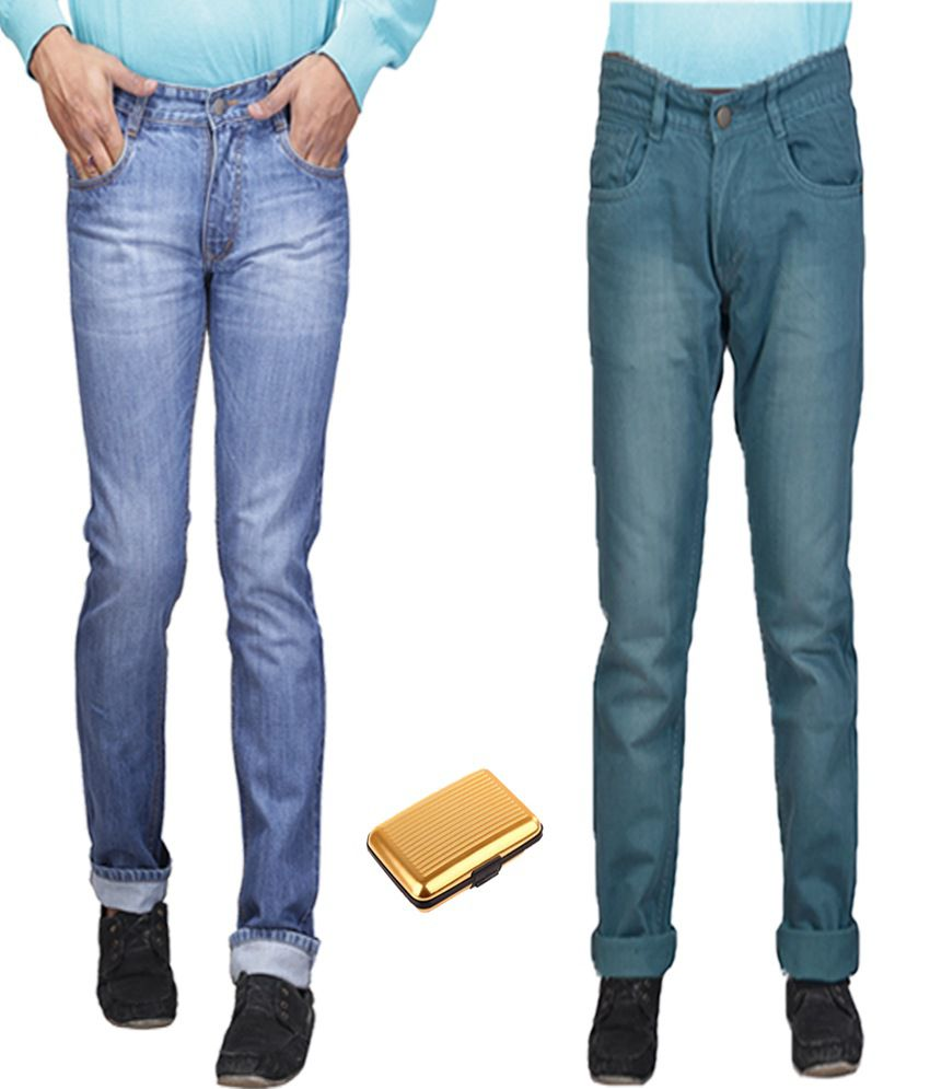 Q-nine Blue Streachable Jeans With One Card Holder - Pack Of 2