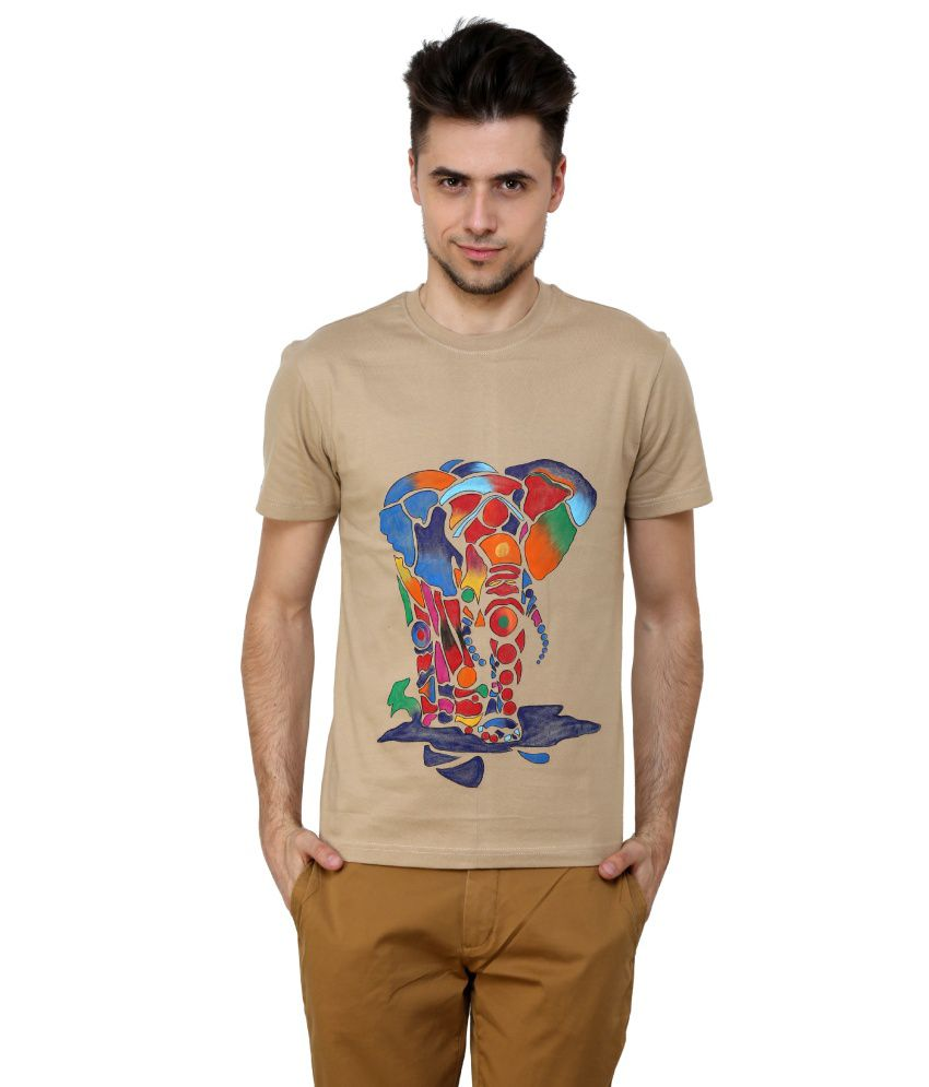 Rang Rage Beige Cotton T-shirt For Men