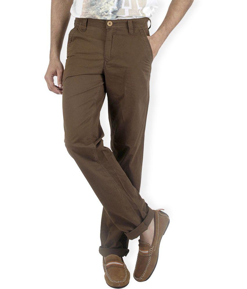 American Vintage Brown Cotton Slim Fit Casual Chinos
