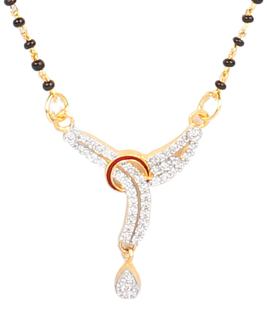 Dee Gee Maroon & Silver American Diamond Traditional Mangalsutra Set
