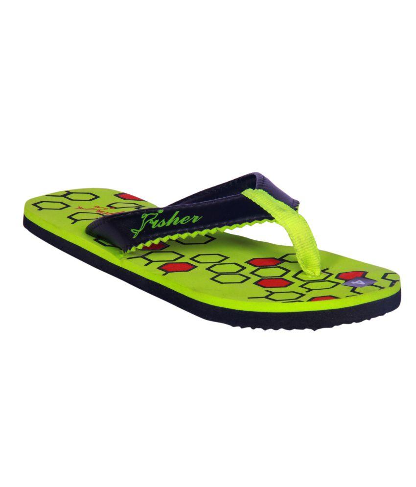 Fisher Green Synthetic Hexagon Flip Flops