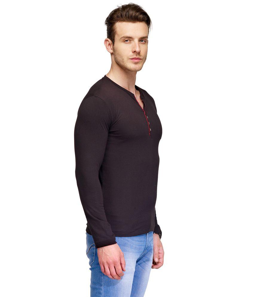 TSX Black Cotton Henley T-Shirt