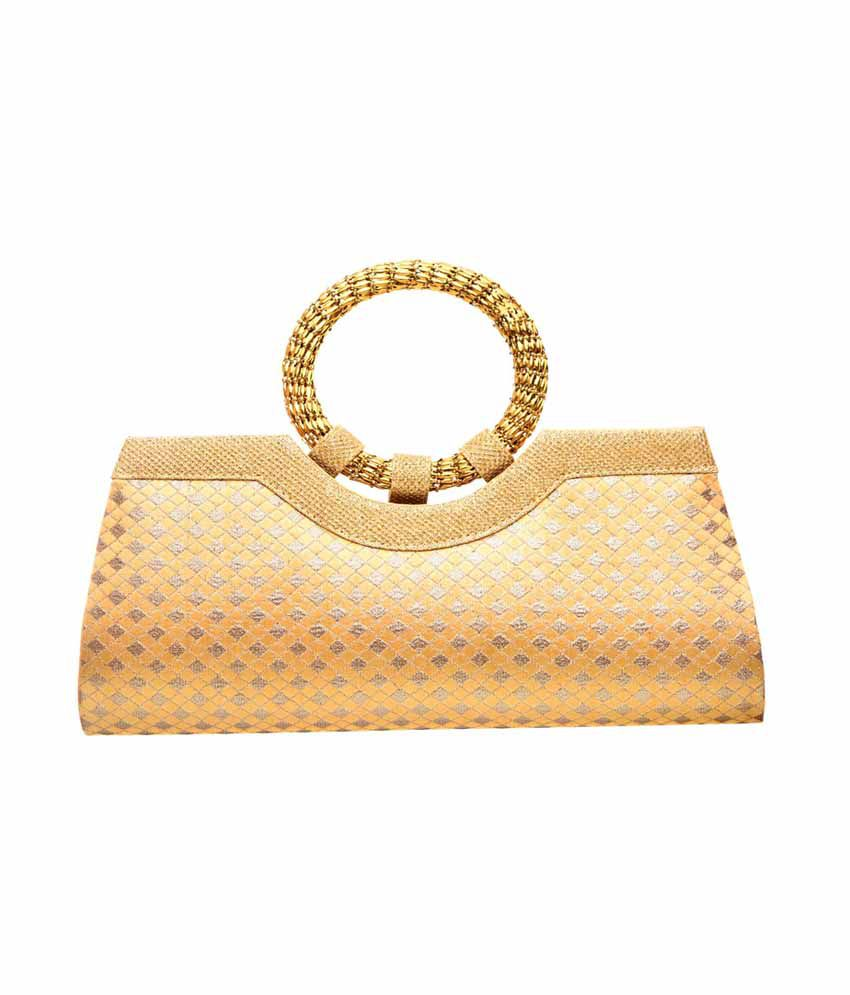 Zeno Jute Ethnic Clutch - Gold