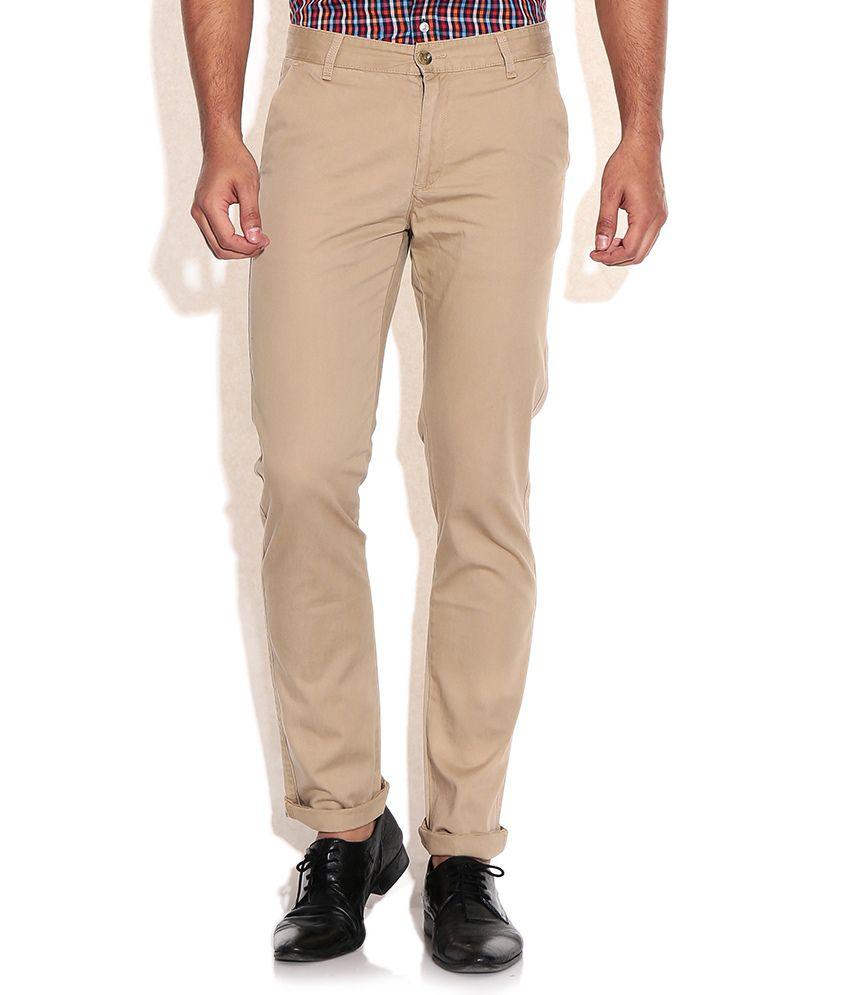 Arrow Sports Khaki Slim Fit Casual Trousers