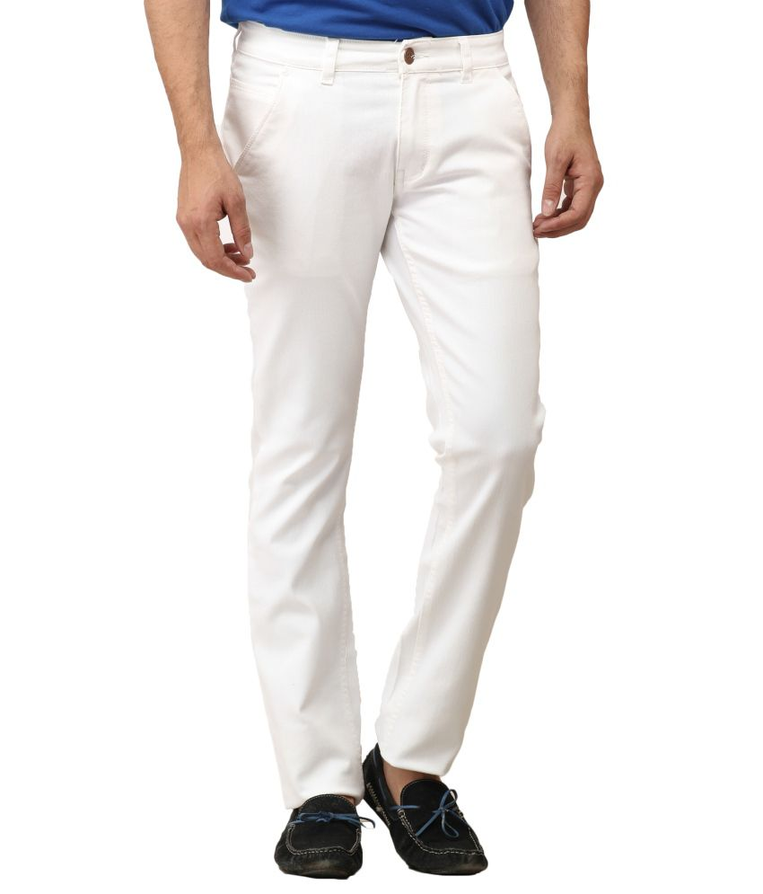 Leana White Cotton Regular Fit Jeans
