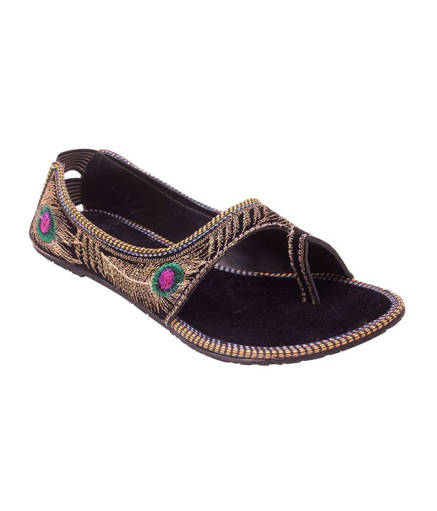 Myra Black Patent Beautiful Ethnic Embroidered Sandal
