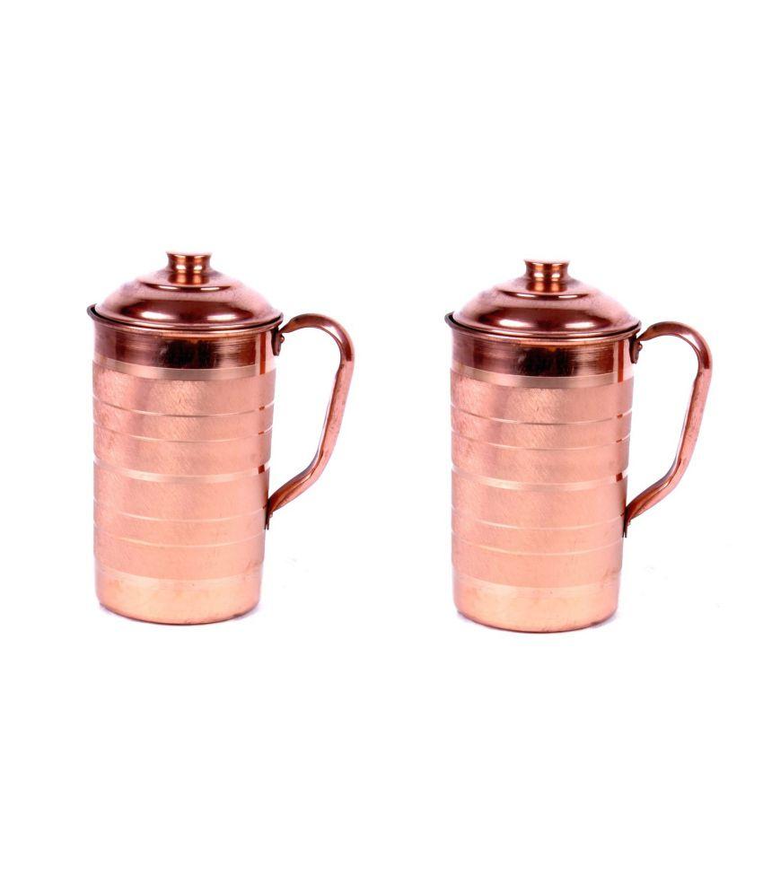 Sajawat Bazaar Elegant Copper Jug   1500 ML   Set Of 2