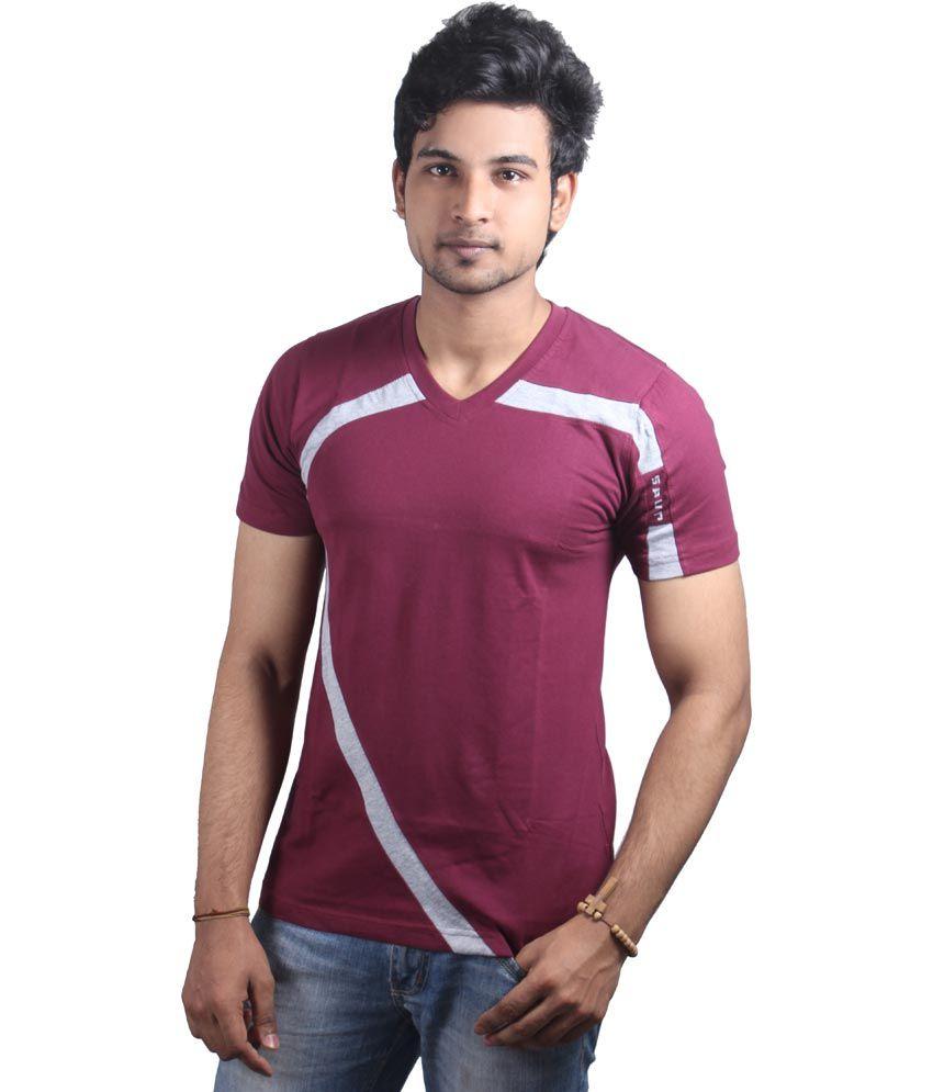 Spur Maroon Cotton V-Neck Printed T-Shirt