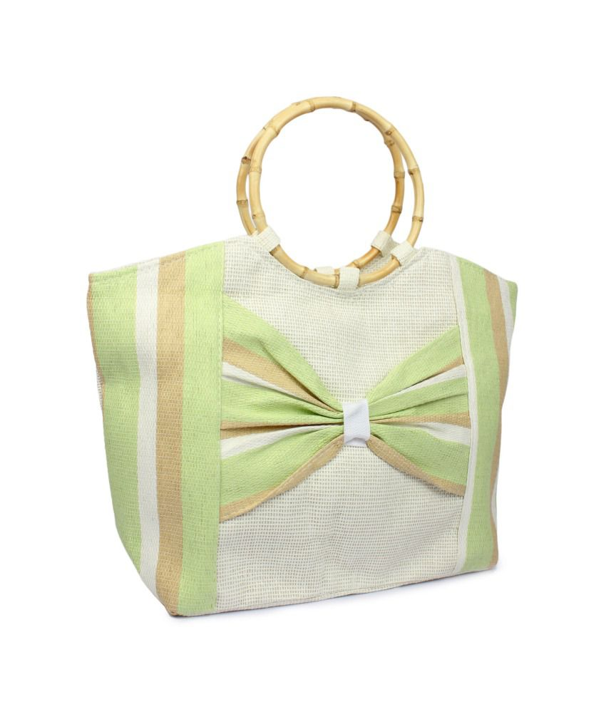 Stylz Green Jute Shoulder Bags