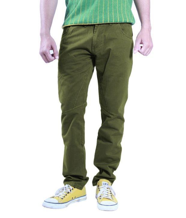 Uber Urben Green Cotton Trouser For Men