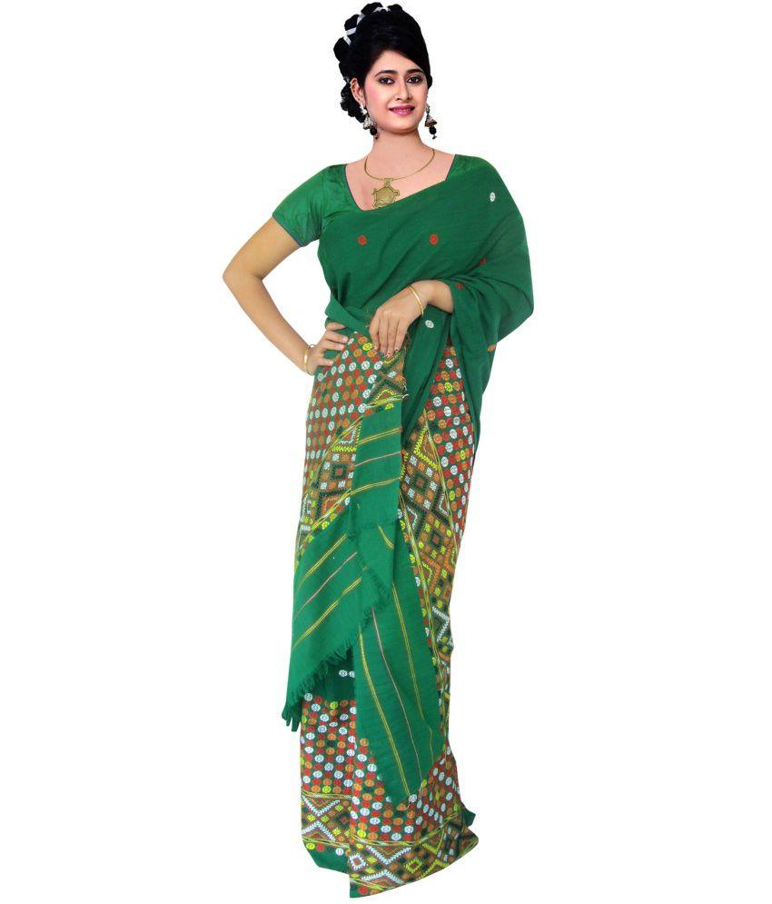 Weforfashionistas green embroidered mekhela chador dress