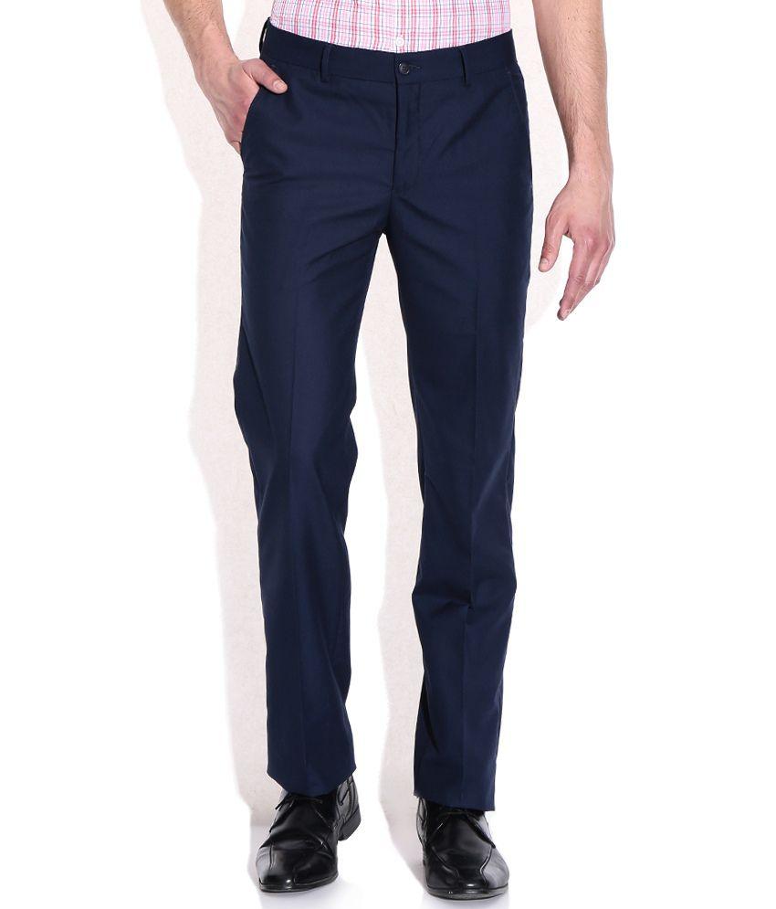 Geoffrey Beene Navy Poly Viscose Formals Trouser