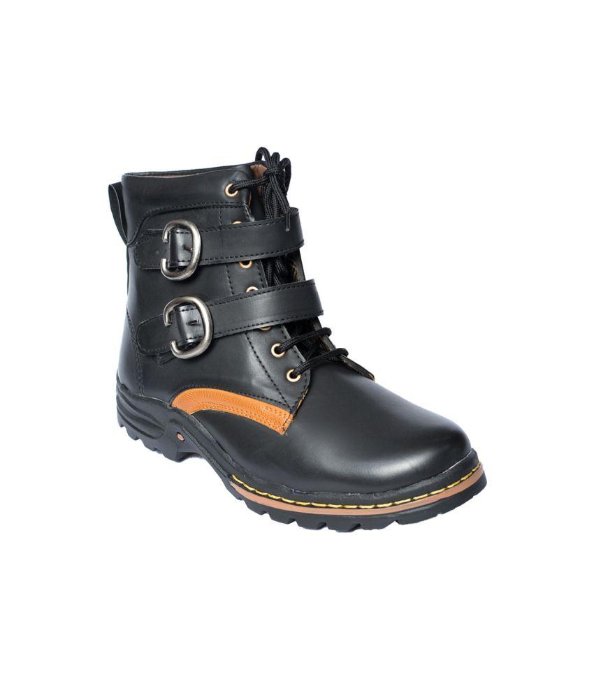 Le Men'z Black Faux Leather Boots With Lace