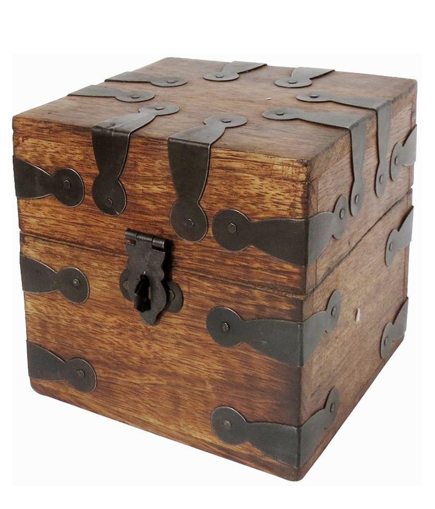 PINDIA Wood Jewellery Box Brown