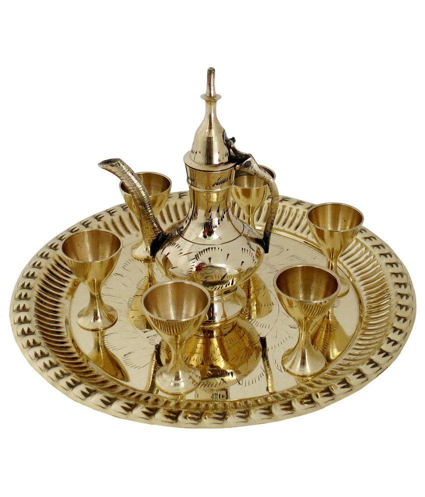Pindia Fancy Fancy Brass Decorative Plate Glasses Kettle Set Show Piece