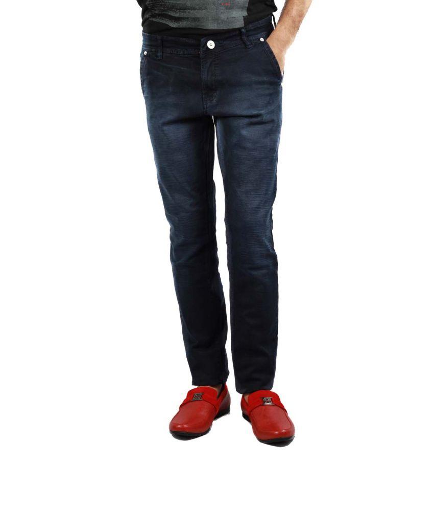 Barfi Black Cotton Basics Slim Jeans For Men