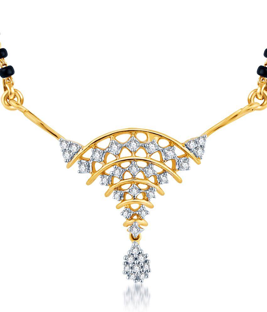 KaratCraft Trigonus 18Kt Hallmarked Diamond Studded Gold Pendant - GHSI