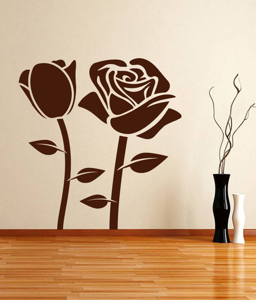 Decor kafe black rose wall sticker buy decor kafe black for Black and white rose wall mural