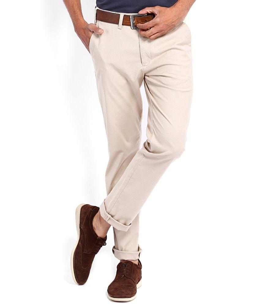 Highlander White Cotton Lycra Casual Trouser