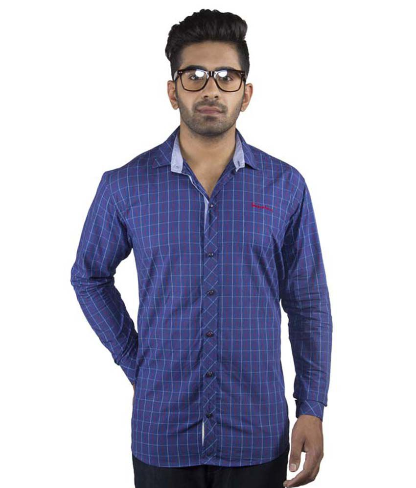02a745fd46f ... Blue   Red Checks Cotton Casual Shirt - Buy Modx-Craft Franky   Bunny  Blue   Red Checks Cotton Casual Shirt Online at Best Prices in India on  Snapdeal