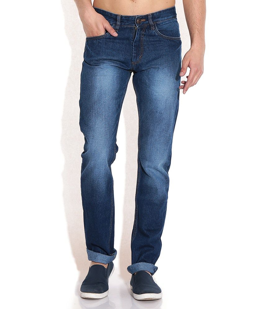 Newport Blue Cotton Faded Jeans