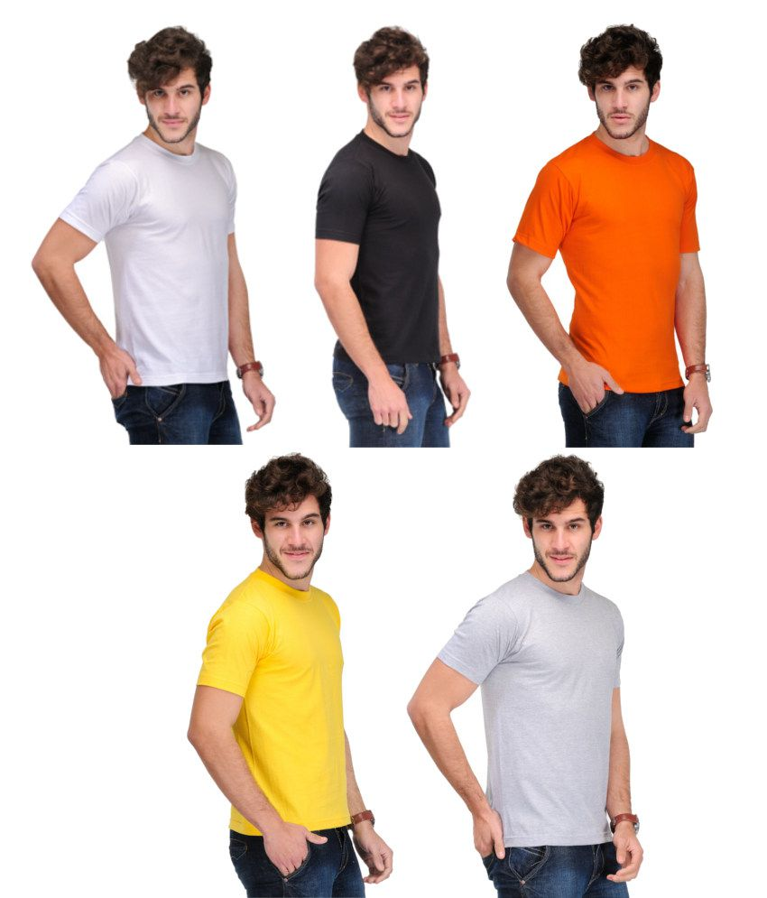 TSX Combo Of 5 Solid T-shirts