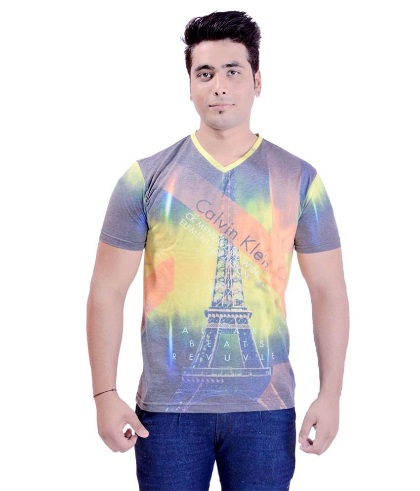 Krazzy Collection Multicolour Music & Bands Cotton Half Sleeves V-neck T-shirt