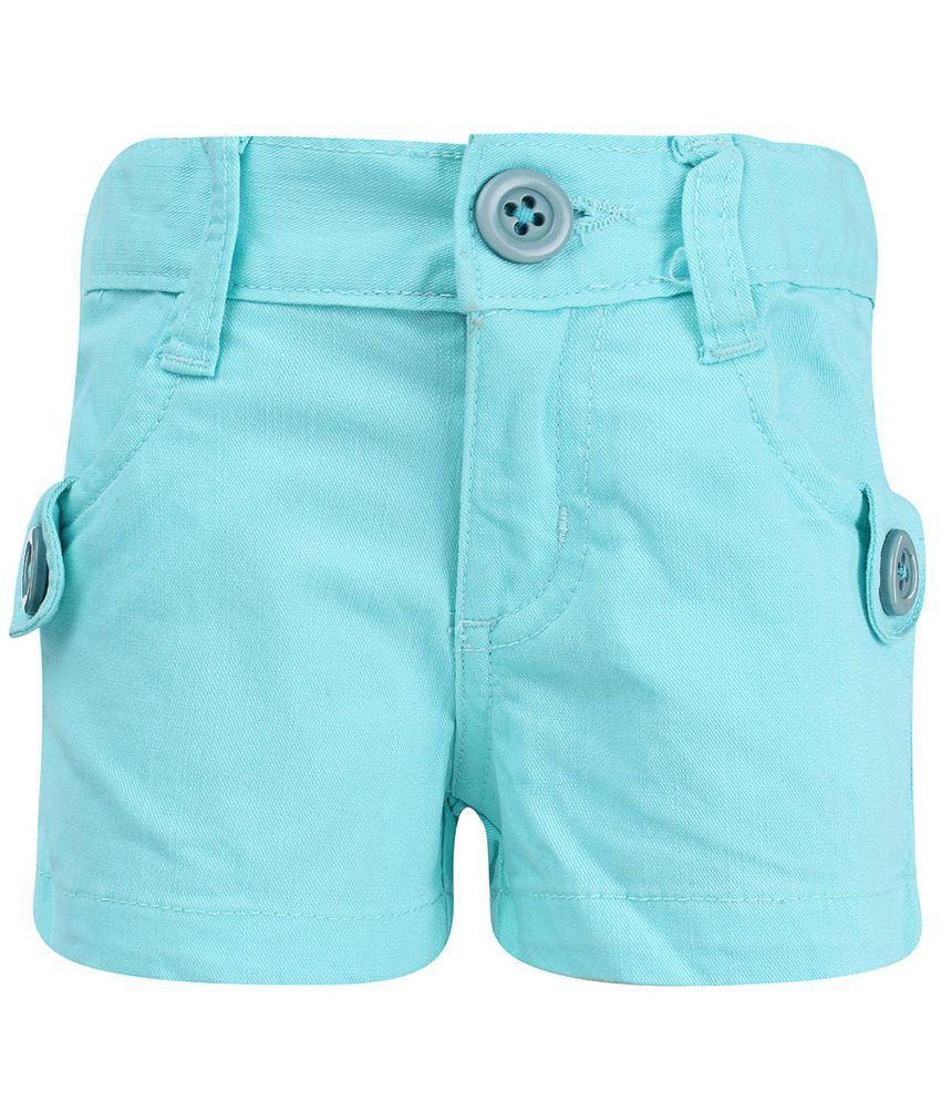 Dreamszone Aqua Blue Solids Shorts For Kids