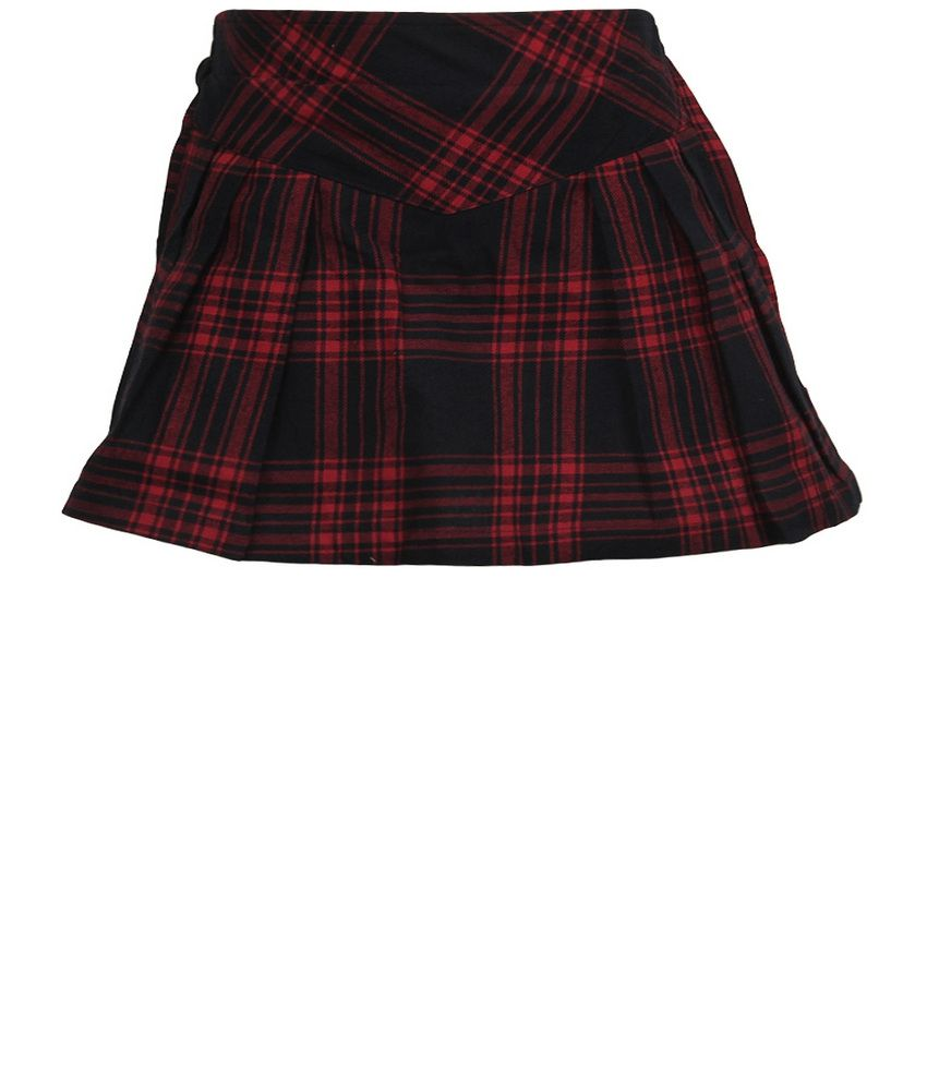 Dreamszone Red & Black Checks Skirts For Kids