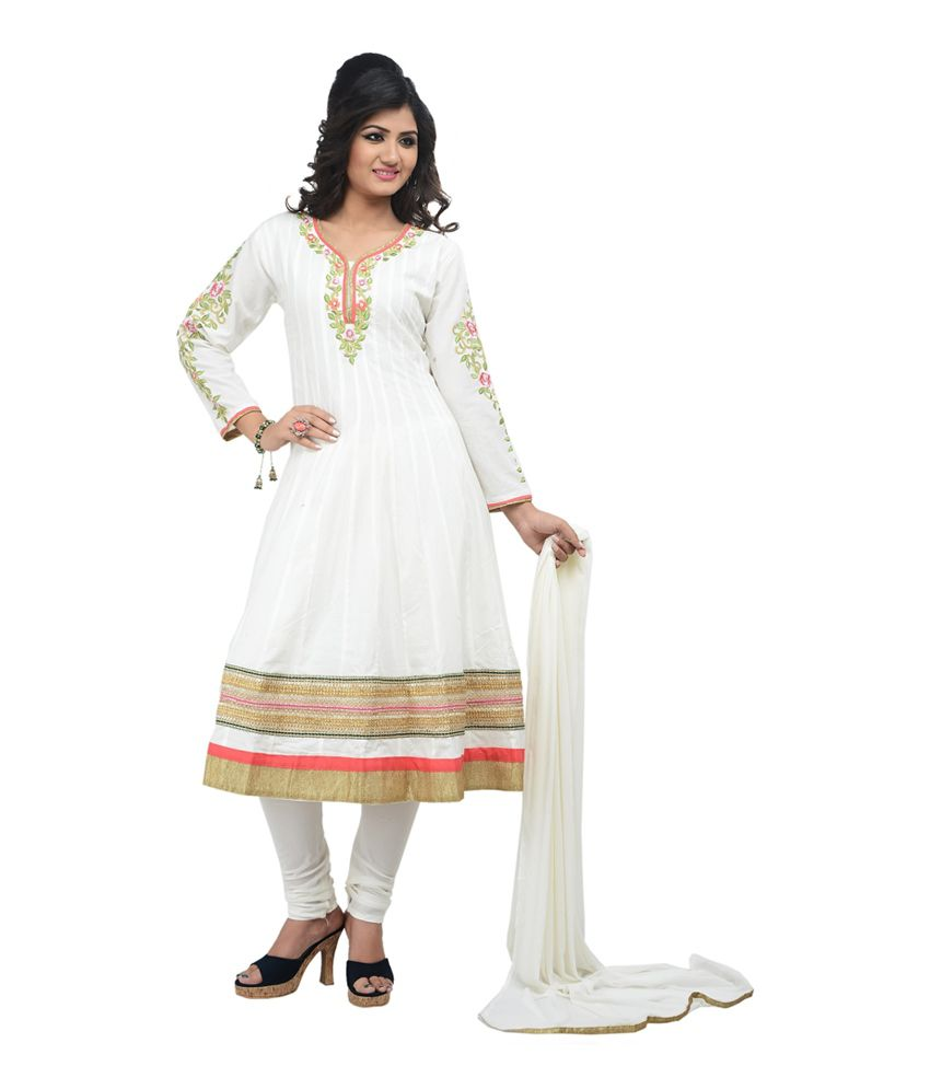 Fashions White Cotton Semi Stitched Embroidered Salwar Suit